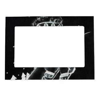 Esquí del oso de peluche en blanco y negro marcos magneticos de fotos