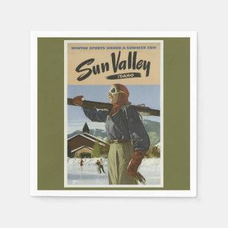 Esquí del viaje del vintage servilleta de papel