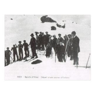 Esquí del vintage, lección del esquí para la gente postal