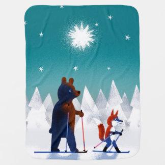 Esquí lindo del oso y del Fox debajo de las Mantitas Para Bebé