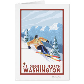 Esquiador de la nieve de Downhhill - 49 grados del Tarjeta