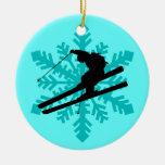 esquiador del copo de nieve adorno de reyes
