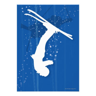 Esquiador del estilo libre invitaciones personalizada