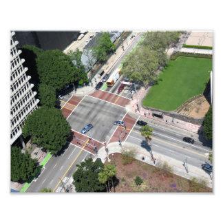 Esquina de calle en Los Ángeles céntrico Impresion Fotografica