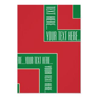 """Esquina del color rojo/verde de """"su texto aquí"""" invitación 12,7 x 17,8 cm"""