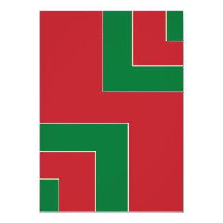 Esquina delantera en blanco del color rojo/verde invitación 12,7 x 17,8 cm