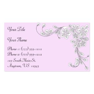 Esquina floral del estilo occidental del rosa en tarjetas de visita