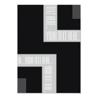 """Esquina negra/gris de """"su texto aquí"""" del color invitación 12,7 x 17,8 cm"""