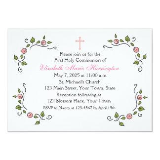 Esquinas florales rosadas, religiosas invitación 12,7 x 17,8 cm
