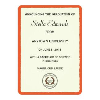 Esquinas redondas de las invitaciones anaranjadas invitación 12,7 x 17,8 cm