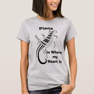 Está donde el piano mi camiseta chistosa del