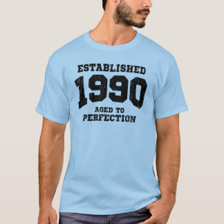 Establecido 1990 envejecido a la perfección camiseta