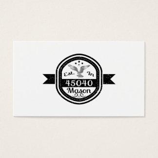 Establecido en el albañil 45040 tarjeta de negocios
