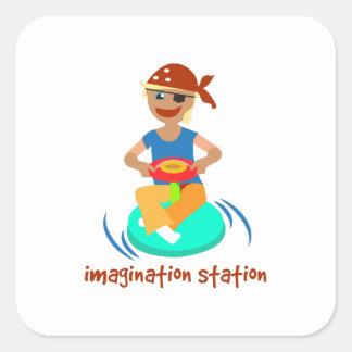 Estación de la imaginación pegatina cuadradas personalizada