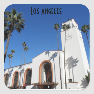 Estación de la unión de Los Ángeles Pegatina Cuadrada
