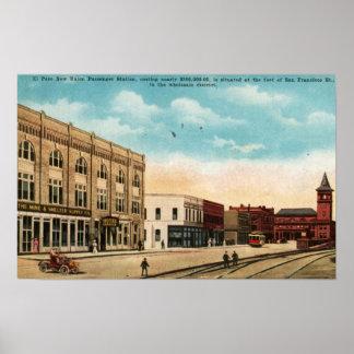 Estación de la unión, El Paso, vintage 1916 de TX Póster