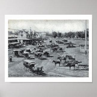 Estación de tren, parque de Asbury, vintage de New Póster