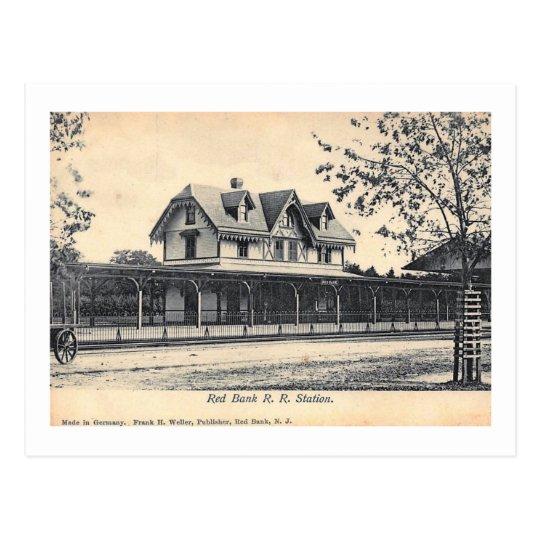 Estación de tren, vintage del banco rojo, New Postal
