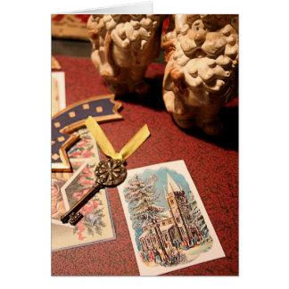 Estación festiva feliz 1 tarjeta de felicitación