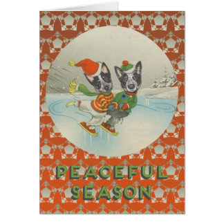 Estación pacífica: Perros australianos patinadores Tarjeta De Felicitación