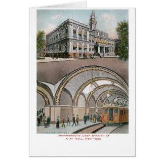 Estación subterráneo del lazo en ayuntamiento, Nue Tarjeta De Felicitación