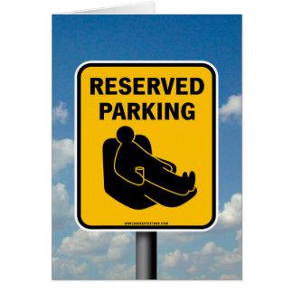 Estacionamiento reservado tarjeta de felicitación
