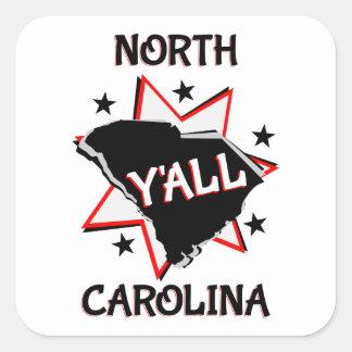 Estado de Carolina del Norte usted Pegatina Cuadrada
