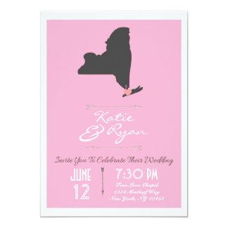 Estado de Nuevo York rosado elegante que casa la Invitación 12,7 X 17,8 Cm