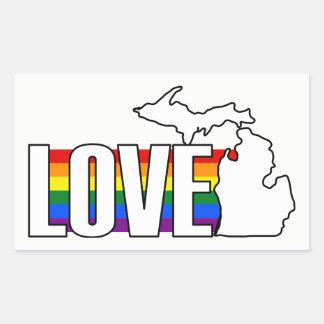Estado del amor del pegatina temático de Michigan