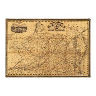 Estado del mapa de Virginia del oeste y de Johnson Impresión En Lienzo