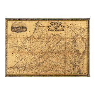 Estado del mapa de Virginia del oeste y de Johnson Lienzo
