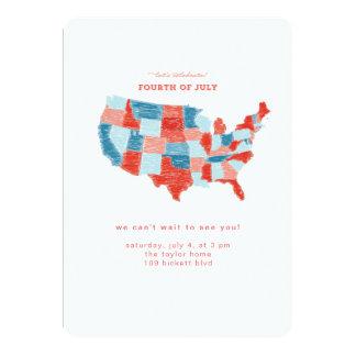 Estados Unidos invitación dibujada mano del 4 de