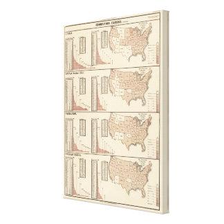 Estados Unidos litografiaron mapas Impresión En Lienzo