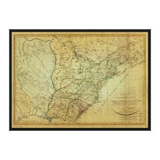 Estados Unidos Norteamérica y mapa de Luisiana Impresión En Lienzo