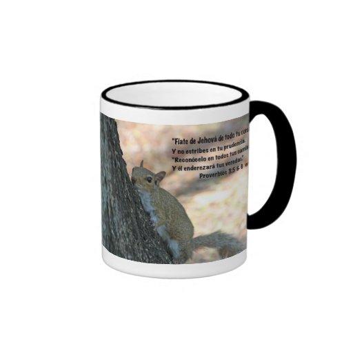 Estafa Ardilla Tazon del 3:5,6 de Proverbios Taza De Café
