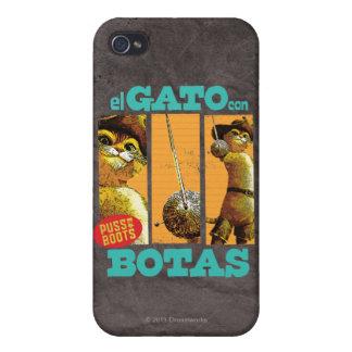 Estafa Botas del EL Gato iPhone 4 Protectores
