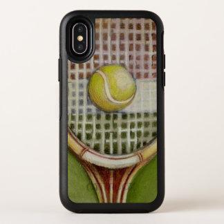 Estafa de tenis con la bola que pone en corte