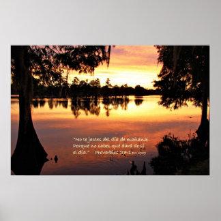 Estafa Puesta del Sol de Proverbios 27-1 Póster