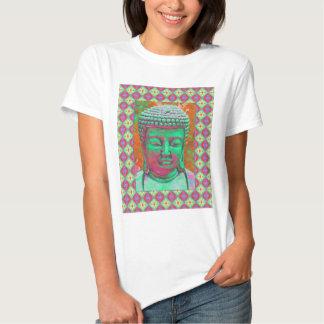 Estallido de Buda con las fronteras del remiendo Camisetas