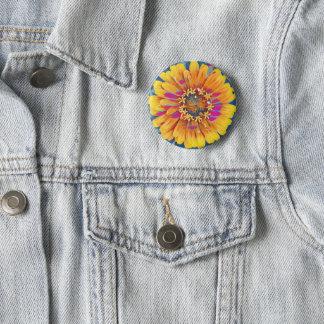 Estallido de la flor del verano chapa redonda de 5 cm
