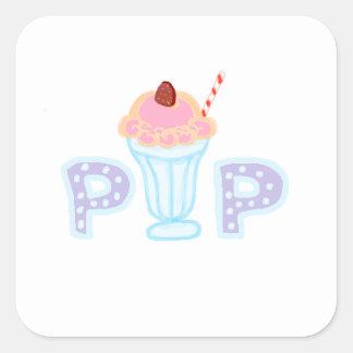 Estallido púrpura del helado pegatinas cuadradases personalizadas