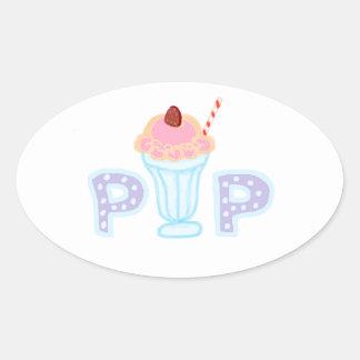 Estallido púrpura del helado pegatina de oval