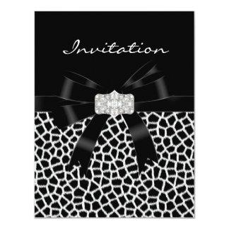 Estampado de animales blanco negro de la invitación 10,8 x 13,9 cm