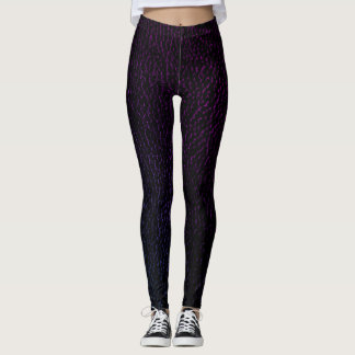 Estampado de animales de cuero púrpura elegante leggings