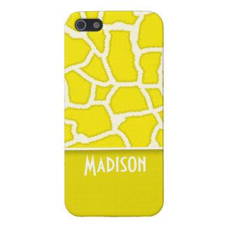 Estampado de animales de la jirafa del amarillo am iPhone 5 cárcasas