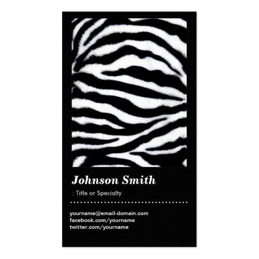 Estampado de animales de moda del estampado de zeb plantillas de tarjetas personales