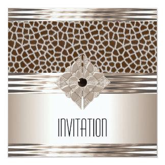 Estampado de animales del beige de la crema del invitación 13,3 cm x 13,3cm