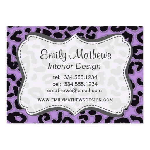 Estampado de animales del leopardo de la lavanda tarjetas de negocios
