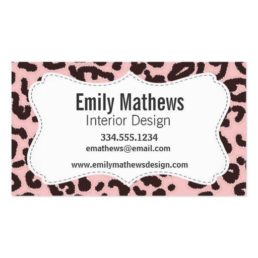 Estampado de animales del leopardo de los rosas be tarjetas de visita