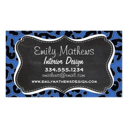 Estampado de animales del leopardo del azul cerúle tarjeta de visita